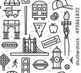 new york  vector outline... | Shutterstock .eps vector #495861832