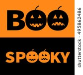 word boo spooky text with... | Shutterstock .eps vector #495862486