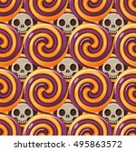 halloween lollypops and skull | Shutterstock .eps vector #495863572