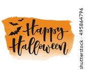 happy halloween white hand... | Shutterstock .eps vector #495864796