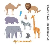 collection of african animals.... | Shutterstock .eps vector #495872986