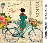 paris vintage poster. | Shutterstock .eps vector #495875848