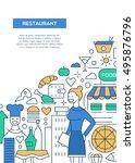 restaurant   line design...   Shutterstock . vector #495876796