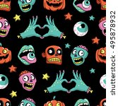 halloween seamless pattern with ... | Shutterstock .eps vector #495878932