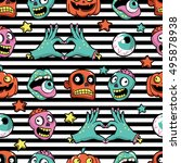 halloween seamless pattern with ... | Shutterstock .eps vector #495878938