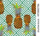 pineapples seamless vector... | Shutterstock .eps vector #495880786