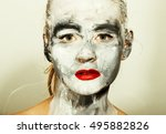 abstract art makeup. face and... | Shutterstock . vector #495882826