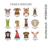 vector heads  animals of the... | Shutterstock .eps vector #495884326