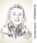 sketch of beautiful smiling...   Shutterstock .eps vector #495885076