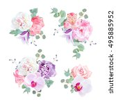 wedding delicate gift bouquets... | Shutterstock .eps vector #495885952