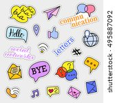 fashion patch badges. social... | Shutterstock .eps vector #495887092