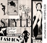 fashion collage with freehand... | Shutterstock . vector #495891328