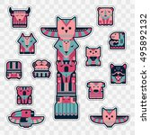 set of fashion patch badges... | Shutterstock .eps vector #495892132