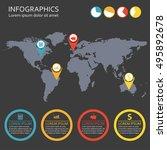 world map infographics template ... | Shutterstock .eps vector #495892678