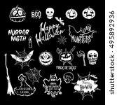 vector halloween set  drawn... | Shutterstock .eps vector #495892936