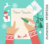 Dear Santa Letter. Girl Writin...