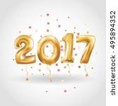 metallic gold letter balloons ... | Shutterstock .eps vector #495894352