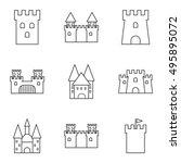 vector black line castle icons... | Shutterstock .eps vector #495895072