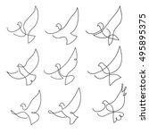 one line dove flies design... | Shutterstock .eps vector #495895375