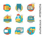 html coder icons set. colorful... | Shutterstock .eps vector #495896056