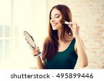 young woman with mirror and... | Shutterstock . vector #495899446