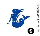 Mermaid Silhouette Logo. Blue...