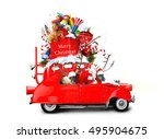santa claus with reindeer in a... | Shutterstock . vector #495904675