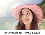 close up beautifal asian woman... | Shutterstock . vector #495911326