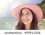 close up beautifal asian woman... | Shutterstock . vector #495911326