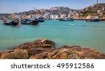miaozi lake island fishing... | Shutterstock . vector #495912586
