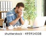 portrait of a sick entrepreneur ... | Shutterstock . vector #495914338