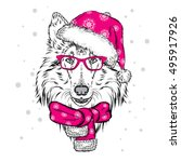 cute dog in a christmas hat and ... | Shutterstock .eps vector #495917926