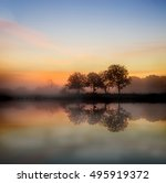 stunning foggy autumn  sunrise... | Shutterstock . vector #495919372