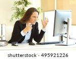 furious businesswoman wearing... | Shutterstock . vector #495921226