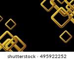 golden squares on black... | Shutterstock .eps vector #495922252