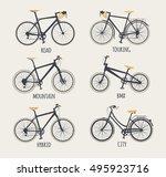 vector set of bicycles in flat... | Shutterstock .eps vector #495923716