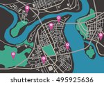 vector flat abstract city map... | Shutterstock .eps vector #495925636