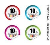 10  discount sticker  button ... | Shutterstock .eps vector #495926818
