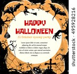 halloween styled frame design... | Shutterstock . vector #495928216
