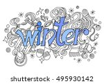 winter hand lettering and... | Shutterstock .eps vector #495930142