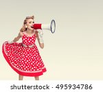 woman with megaphone dressed in ... | Shutterstock . vector #495934786