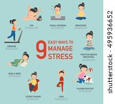 easy ways to manage stress... | Shutterstock .eps vector #495936652