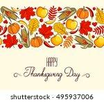 hand drawn card thanksgiving... | Shutterstock .eps vector #495937006