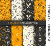 8 halloween seamless pattern... | Shutterstock .eps vector #495938188