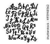 hand written alphabet set. abc... | Shutterstock .eps vector #495948562