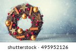 rustic christmas wreath with...   Shutterstock . vector #495952126