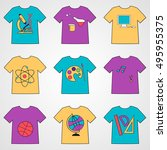 set of t shirts with school... | Shutterstock . vector #495955375