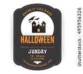 enter if you dare. halloween...   Shutterstock .eps vector #495956326