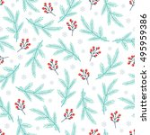 christmas pattern with berries  ... | Shutterstock .eps vector #495959386