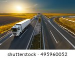 white modern delivery trucks...   Shutterstock . vector #495960052